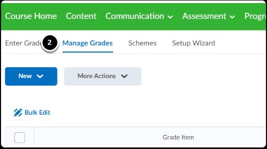 click manage grades tab