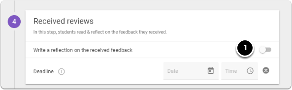 Write a rlection on the received feedback, click on button to turn it on