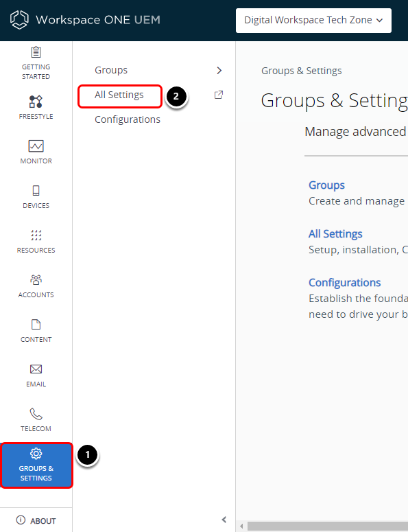 Open All Settings in Workspace ONE UEM Console