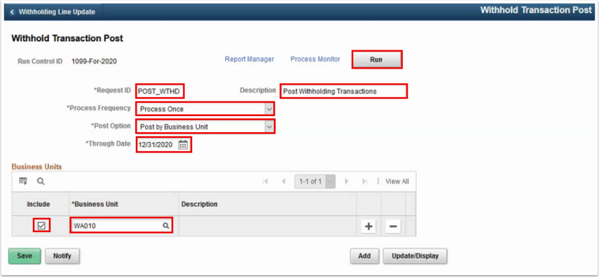 Withhold Transaction Post page