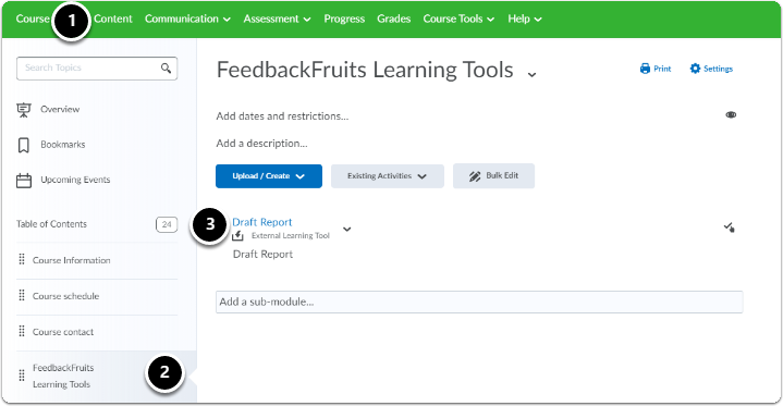 Click on the title of the Feedbackfruits learning tool