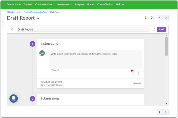 You can now edit your FeedbackFruits Learning Tools Assignment