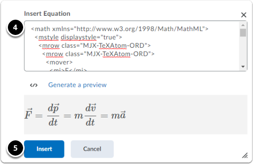 Insert equation window for MathML