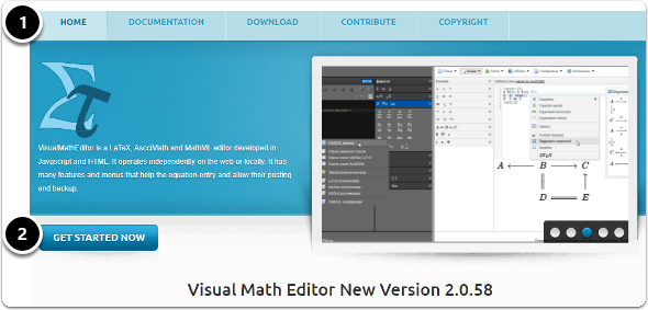 Visual Math Editor homepage