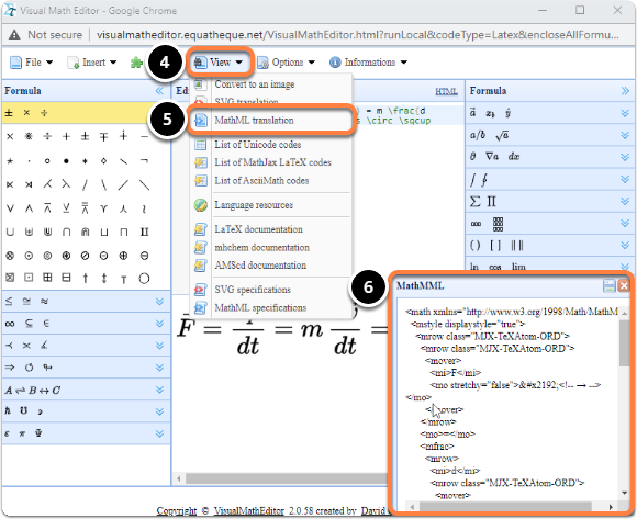 visual math editor screen: MathML code translated