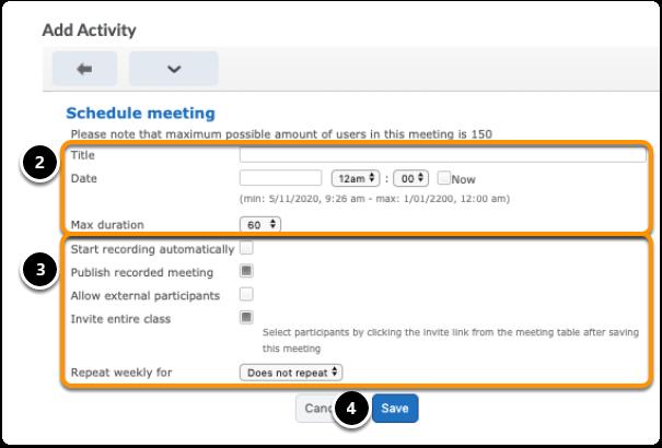 Step 2 - set up meeting Virtual Classroom