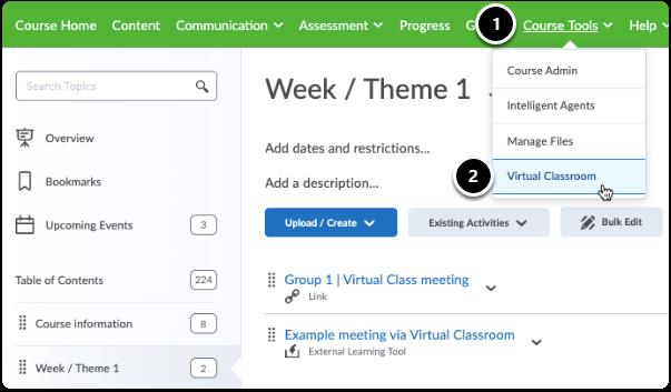 Steps to see all created meetings via Virtual Classroom