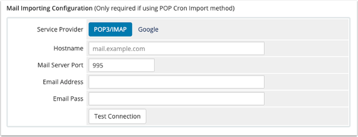 POP3 IMporting Configuration Settings Cleared