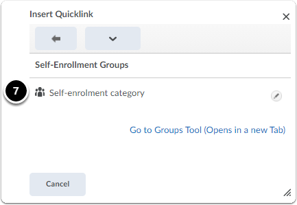 insert quicklink window to click on category to add as a link