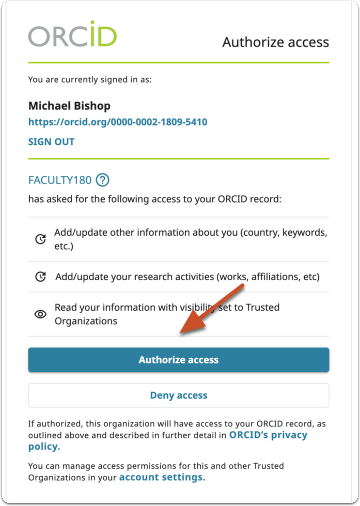 Authorize ORCID access