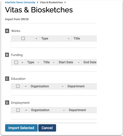 Data from the ORCID profile displays.  Select items that you wish to transfer to FACULTY180.