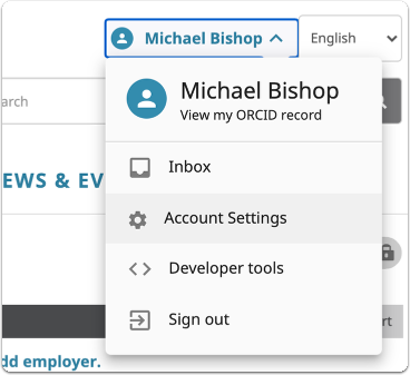 Go to Account Settings for your  ORCID account