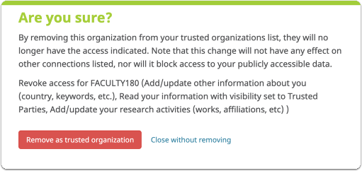 Confirm removing trusted organization