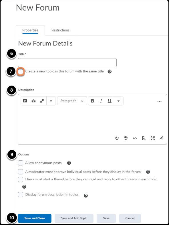 new forum creation screen