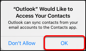allow access to contacts