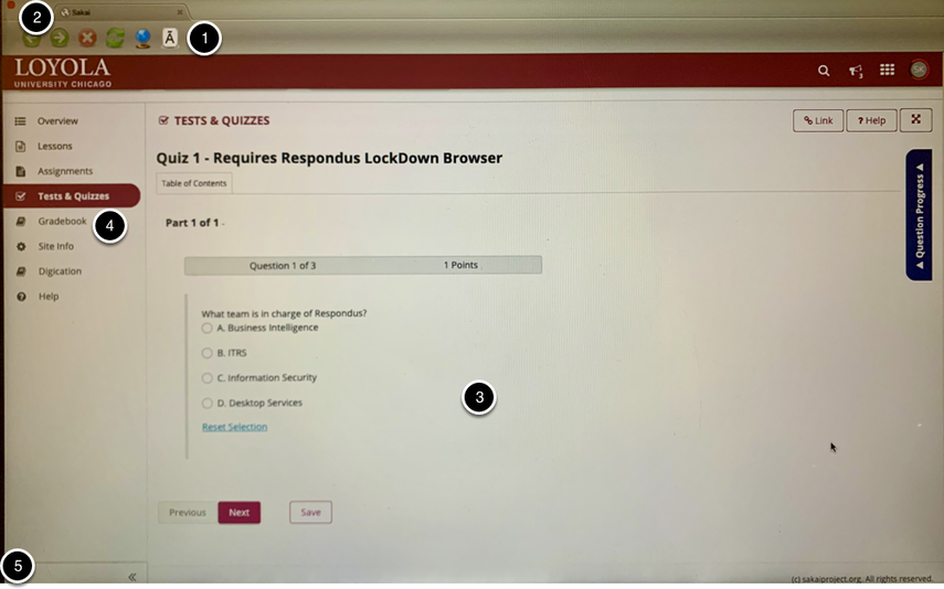 In-progress quiz in LockDown Browser