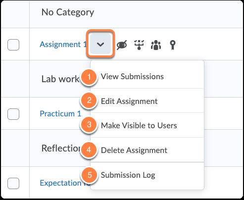 Assignment - quick menu options
