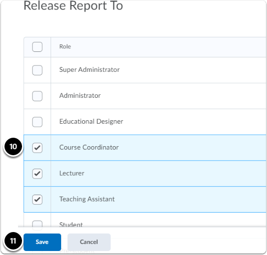 release report to section in report creation page