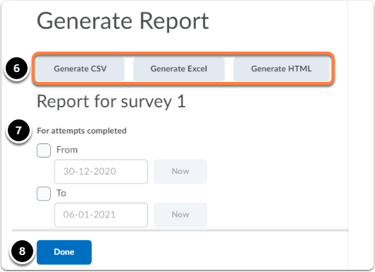 generate report page to select file type and date range to export