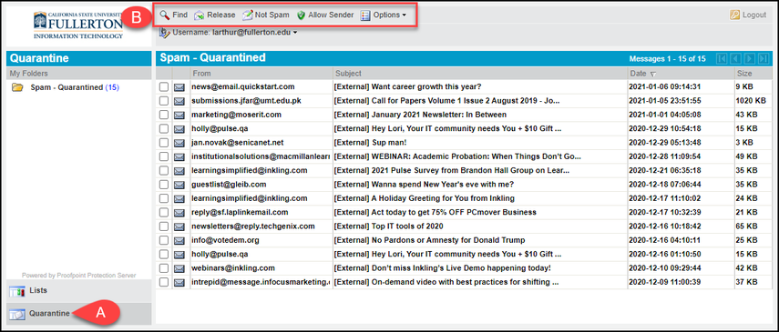 Proofpoint account with quarantined emails
