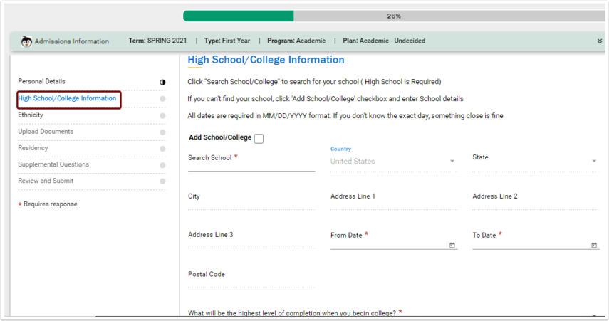 High School/College Information page