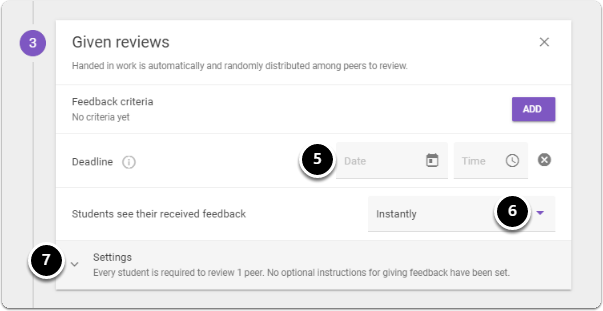 Click on date and time icons to choose a deadline, then click on downward arrow next to instantly in order to choose when students can receive their feedback. For further Settings click on the downward arrow next to settings