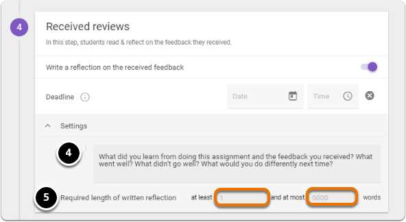 Add instructions for writing reflection and set the length (minimum and maximum words) of written reflection