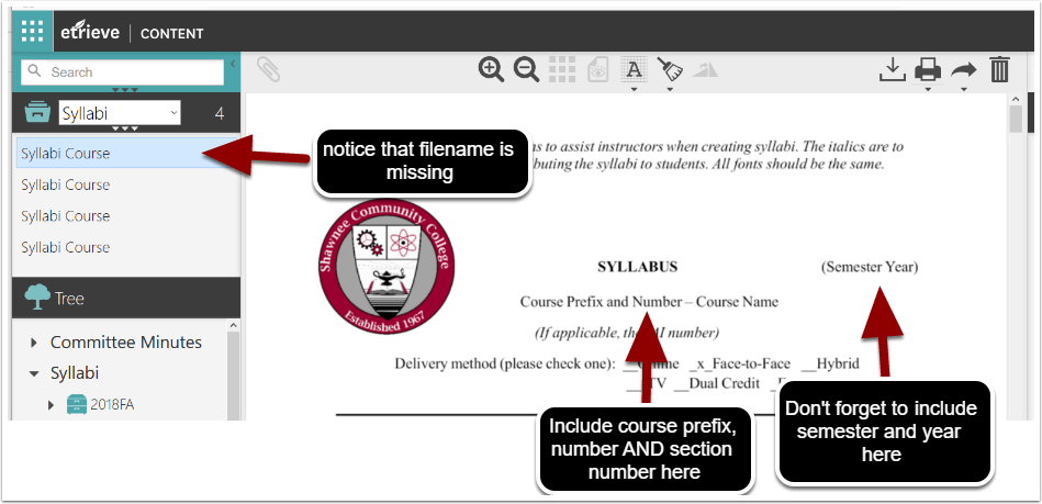 annotated view of a syllabus document in etrieve