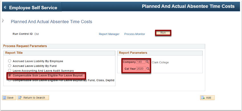 Planned and Actual Absentee Time Costs page