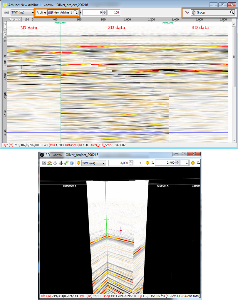 View volume group data using arbline
