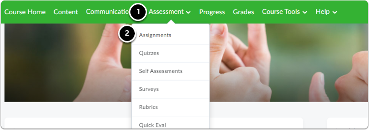 Navigate to your course, in the green navigation bar click on Assessment, then click on Assignment