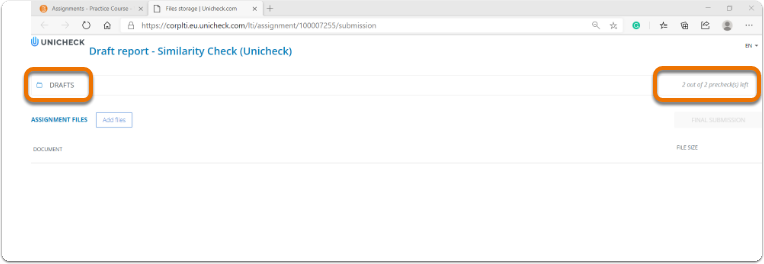 Unicheck assignment opening in a different tab