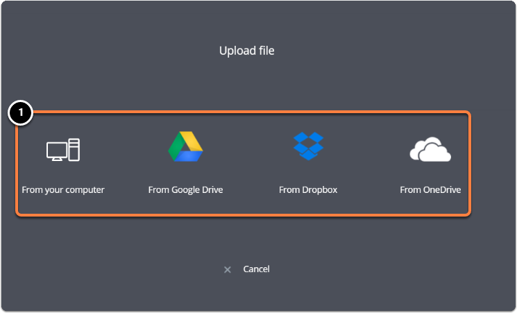 Choose from where you want to upload your file from