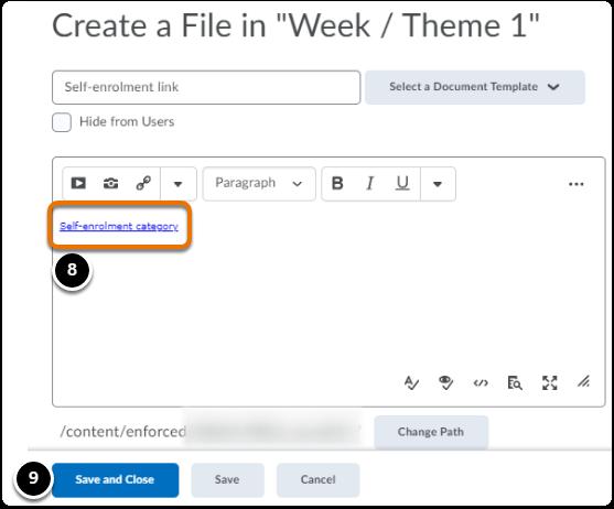self enrolment link added in the editor box