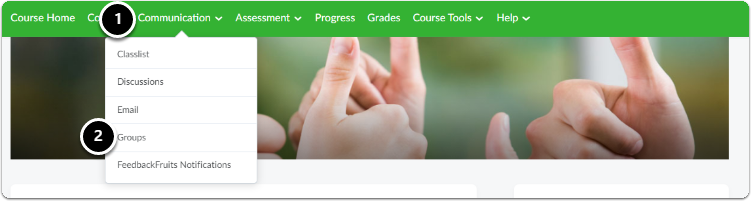 In your course, click on Communication, a drop-down menu will appear, click on Groups
