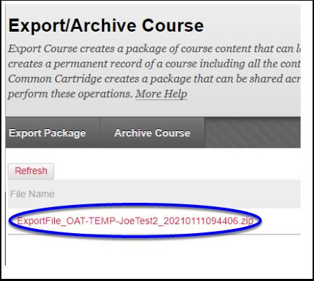Export/Archive Course – Joe's Test course 2 - Google Chrome