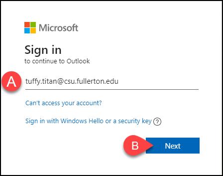 Microsoft sign-in screen