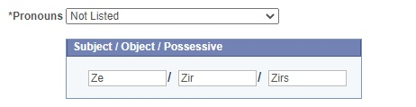 Subject / Object / Possessive Not Listed options examples