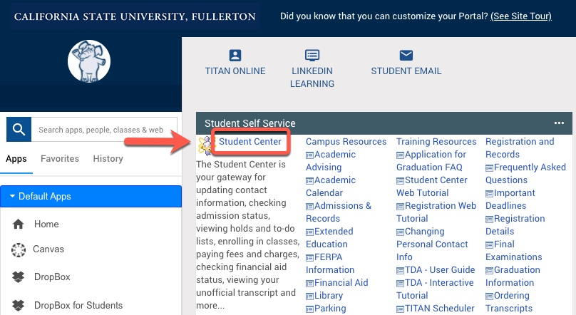 CSUF portal, arrow pointing to Student Center link