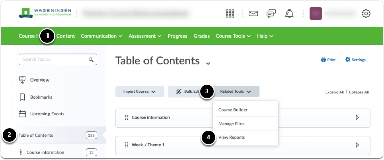 Click Content, Table of Contents, Related Tools, View Reports