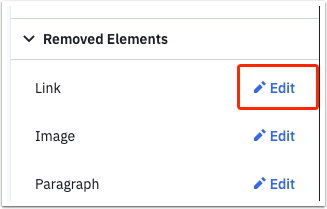 Edit a removed element