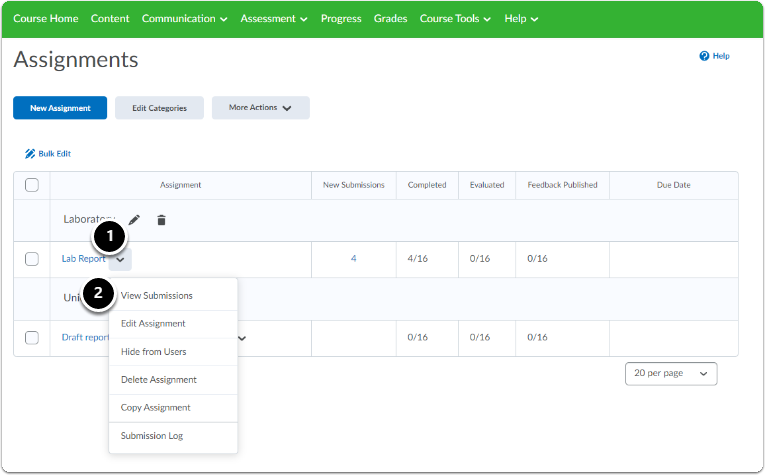 Assignments homepage - click on the downward arrow next to the assignment name, a drop-down menu will appear, click on View Submissions