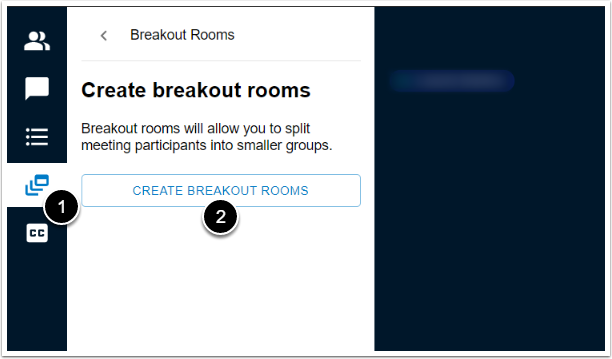 create breakout rooms left side panel