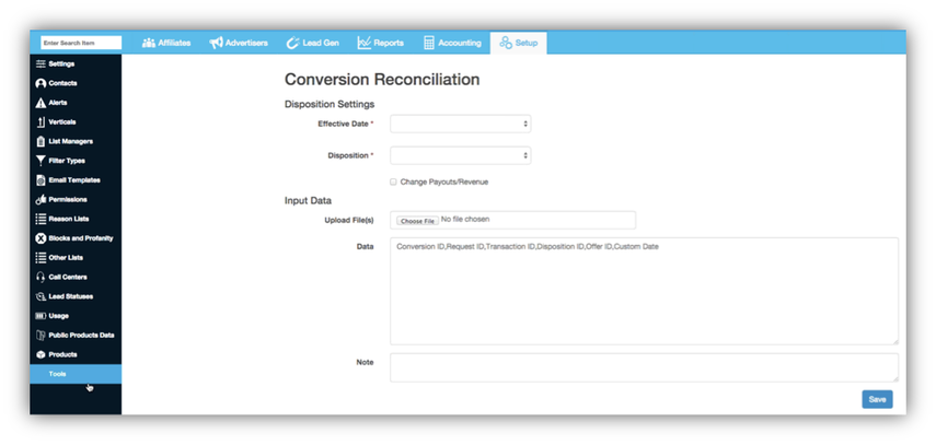 Accessing the CSV Reconciliation Tool
