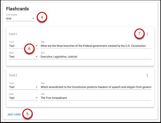 Image of flashcard settings