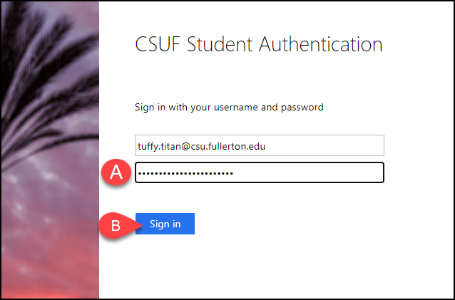 CSUF Microsoft authentication screen