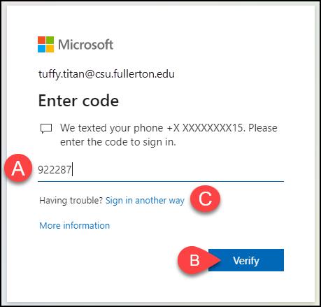 Microsoft authenticator code