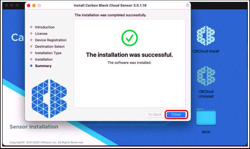 Close VMware Carbon Black cloud sensor installer on macOS