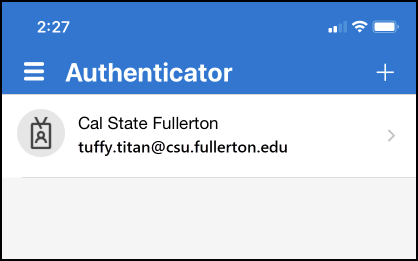 authenticator with account added