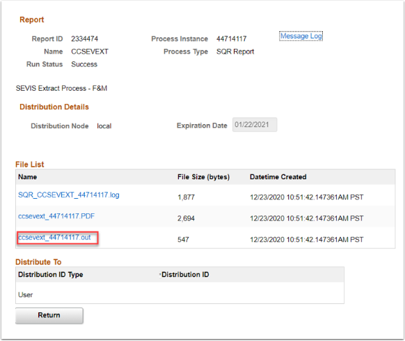 select ccsevext....out link in the File List section